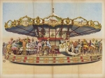 1800's postcard of an early carousel.