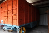 Wooden baggage wagon in the restoration shop.jpg