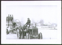 Sparks Circus stake driver in a snowstorm...1940.JPG