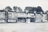 Snake Show on the James E. Strates Shows midway.1953.JPG