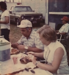 Bill and Gloria Myers enjoy some Gypsy pig roast on the Myers Amusements 1970s