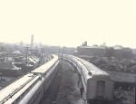 Show train alongside the lot.1940's