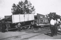 Unloading the Rubin & Cherry Shows wagons...1930's.JPG