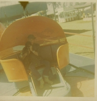 Tilt Joe  on the old wooden bull plate Tilt and my dog Pooh 1970 at the Calaveras Frog Jump.jpg