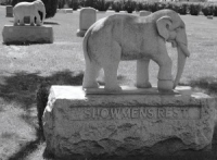 submitted photo The elephant statutes at Woodlawn Cemetery mark the area where victims of the train disaster were laid to rest..jpg