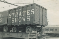Strates Shows wagon on the flats..1953.JPG