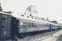 Strates train at the siding.1953.JPG