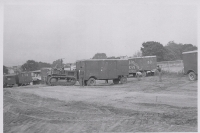 'Spotting' the wagons on the lot. Cetlin Wilson Shows...1952.JPG