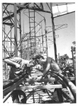 Erecting the Zyklon Roller Coaster.1968